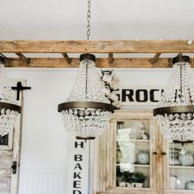How to turn a ladder into a light fixture